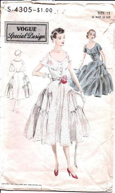 1950s Vintage Sewing Pattern - Vogue Special Design S-4305
