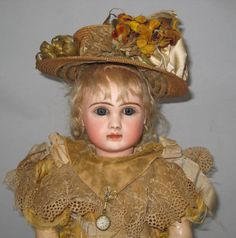 """Stunning French Jules Steiner Bisque Bebe Doll Closed Mouth 18"""" Au Nain Bleu"""