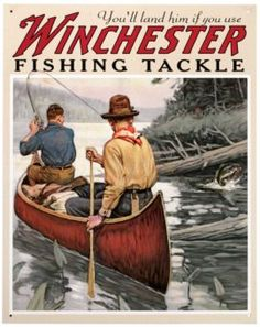 This Winchester Fishing Tackle Lake Canoe Tin Sign features a vintage-style reproduction graphic. Perfect wall decor for a rustic cabin. Made in the USA. Fishing Signs, Bass Fishing Tips, Gone Fishing, Best Fishing, Fishing Tackle, Fishing Lures, Fishing Tricks, Fishing Stuff, Surf Fishing
