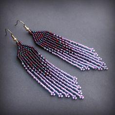 Long beaded earrings Violet earrings Boho fringe earrings Lilac purple earrings Ombre dangle earring