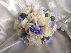 Lavender and Ivory rose bridal bouquet with by JulieWilliamsSilks