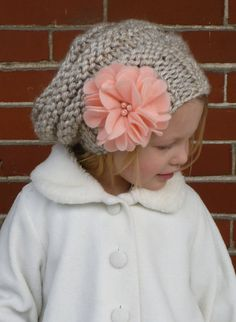 Knit Slouchy Beehive Toddler Hat in Wheat with by BoPeepsBonnets, $32.00