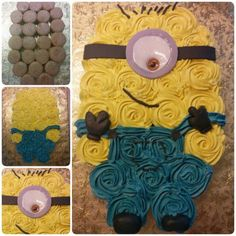 Serve up the cutest minion cake at your next party with these adorable minion cake ideas. So many minion cake tutorials to make! Cupcakes Cool, Minion Cupcakes, Birthday Cupcakes, Cute Cakes, Cake Minion, Yummy Cakes, Delicious Cupcakes, Pull Apart Cupcake Cake, Pull Apart Cake