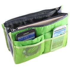 SODIAL(R) Green Travel Organizer Handbag Pouch Bag in Bag Organiser Insert Cosmetic Pocket *** You can get more details by clicking on the image. (This is an affiliate link) #ToolsAccessories
