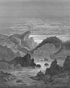 And seems a moving land  and at his gills Draws in, and at his trunk spouts out, a sea.