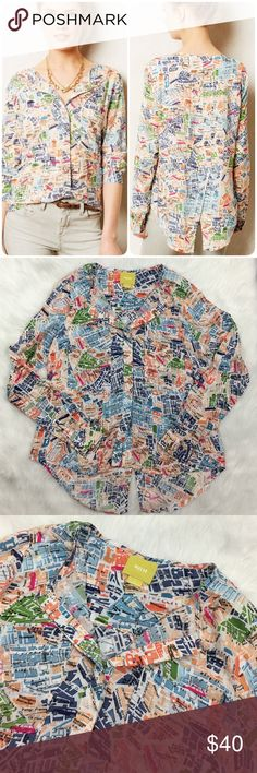 Anthro Maeve Cartography Map Print Blouse This Blouse is in excellent condition! It features an all over map Print of London, full length button down with flap to hide buttons, long sleeve, and a split shirttail hem. 100% rayon. Super sleek, almost silk-like fabric.  Fits like a roomy small. Anthropologie Tops Blouses