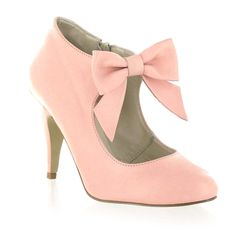 Blush pink mary jane court with bow detail - stunning for a vintage tea-length wedding dress
