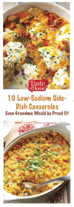 10 Low-Sodium Casserole Sides With sodium counts at 400 mg or less per serving, you can feel good serving these comforting casserole side dishes. - 10 Low-Sodium Side-Dish Casseroles Even Grandma Would be Proud Of Sodium Free Recipes, Salt Free Recipes, Low Salt Dinners, Low Sodium Bread, Low Sodium Diet Menu, Low Sodium Foods, Kidney Friendly Foods, Dash Diet Recipes, Keto