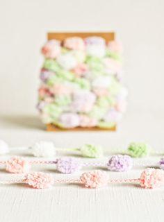 Pom Pom Garland in Pastels - 6 Yards - Purple Pink Green White Novelty Twine Vintage Ribbon Cord Trim Pompom Decorative Pretty Party Decor #Pink #Wedding #PinkWedding #Paper