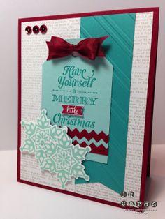 Stampin' Up!, Mojo 318, Merry Little Christmas, Festive Flurry, Dictionary Background, Festive Flurry Framelits, Stylish Stripes Embossing Folder, Tasteful Trim Bigz XL, Cherry Cobbler 1/2 Seam Binding Ribbon