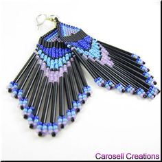 Cool Breeze Native American Seed Bead Dangle Earrings In Blues TAGS - apache, Beaded, breeze, brick stitch blue, bugle, chandelier, cherokee, cool, cowgirl, dance, dangle, earrings, etsy, glass, hand made, jewelry, lakota, native american indian, navajo, pow wow, purple, seed beads, shoulder duster, sioux, southwestern, teal, tribal, turquoise, water