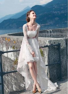 Boho Style Lace Long Sleeves High Low Wedding Dresses Beach 2016 Asymmetric Bridal Gowns Front Short Long In The Back