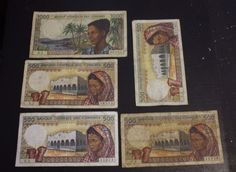Banknote: Lot Of 5 Bank Note From Bank Centrale Des Comores 500 Francs 1000 Francs