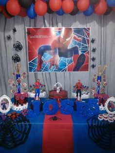 Festa do Homem aranha. Spiderman Theme Party, Superhero Birthday Party, 4th Birthday Parties, Birthday Balloons, Birthday Party Decorations, Boy Birthday, Balloon Arch Diy, Confirmation Gifts, Party Activities
