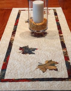 Fall Leaves Quilted Table Runner 175 inches x 47 by clubaloha, $45.00