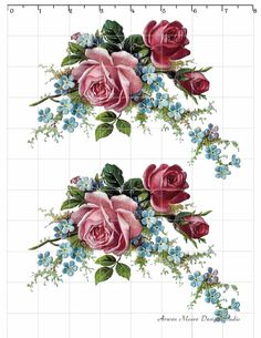 De-Ro-92 Romantic Vintage Style Red Pink Rose Spray Decals