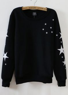 Stars printed black sweater