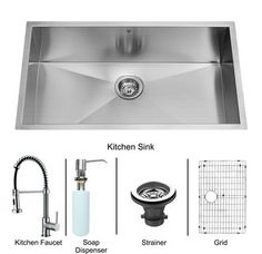 "View the Vigo VG15243 30"" Undermount Single Bowl 16 Gauge Stainless Steel Kitchen Sink Set with Kitchen Faucet and Soap Dispenser at Build.com."