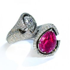 """Pink Queen"" Ring by Mousson Atelier - in 18K White Gold, Pink Sapphire (Ceylon) & Diamonds ♥≻★≺♥"