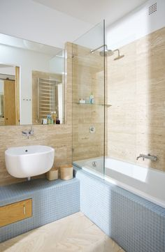 łazienka / bathroom our project #idea #elegant #colors #blue #beige #bathtub #patterns  #inspiration #interiordesign #inspiracje #wnętrza #tatemono Alcove, Bathtub, Bathroom, Standing Bath, Washroom, Bathtubs, Bath Tube, Full Bath, Bath