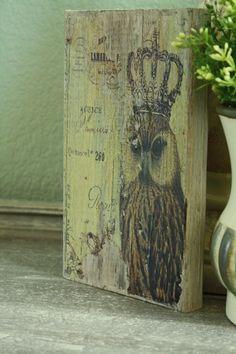Vintage Inspired Owl Wooden Block Art