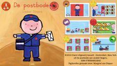 Digibordles-de-postbode  bij het prentenboek 'De postbode' van Liesbet Slegers. Spel 1: Woordenschat. Weet jij wat een postbode allemaal nodig heeft? Spel 2: Hoeveel brieven vallen er in de postzak? Spel 3: Logische volgorde. Wat gebeurt er allemaal met een brief voordat hij bij je thuis is? Spel 4: Help de postbode de brieven te sorteren. Spel 5. Help de postbode de brief in de juiste brievenbus te doen. Spel 6. Daar gaat de postbode. Heb jij gezien waar hij