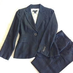 🍒TAHARI🍒 blazer and pant suit 2P Beautiful blue pantsuit from Tahari Arthur S. Levine in a dark blue denim color. The fabric is NOT denim, but is similar in color to dark denim. Gorgeous contrast white stitching on the jacket and pants. All of the stitching is intact. Jacket is fully lined, pants are unlined. Pants have been dry cleaned and pressed. Excellent condition, no flaws! Fabric is 62% cotton /38% tencel. (The white top is not included in the sale.) Bundle and save 15%! Tahari…