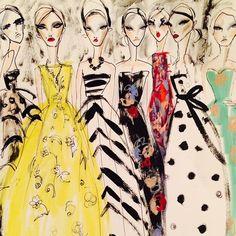 Sketching the Legendary dresses of oscar de la renta. philanthropic  artistic and classic.