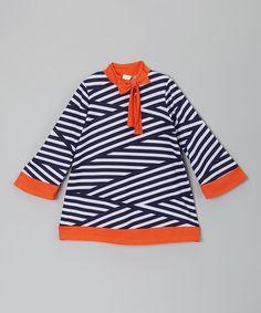 Black & Orange Stripe Bow Dress - Infant, Toddler & Girls