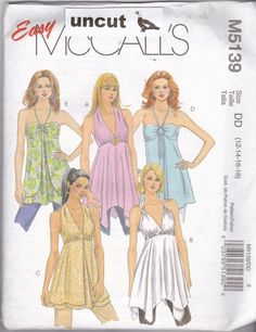 McCall's M 5139 Pattern Uncut 12 14 16 18 Boho Long Halter Tops Easy to Sew