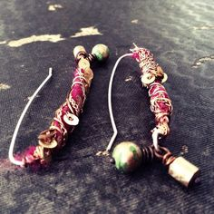Bohemian earrings with deep pink sari silk wrapped by quisnam, $38.00