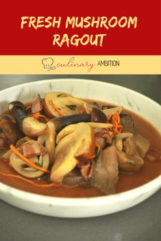 This ragout is the ultimate umami dish! #ragout #mushrooms #mixedmusrhooms #champignons #buttonmushrooms #enoki #pencilmushrooms #mushroomdish #mushroomrecipe #freshmushrooms Mushroom Dish, Mushroom Recipes, White Button Mushrooms, Cook At Home, Oysters, Stew, Slow Cooker, Bacon, Stuffed Mushrooms