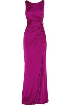 Roberto Cavalli Ruched silk-jersey gown NET-A-PORTER.COM - StyleSays