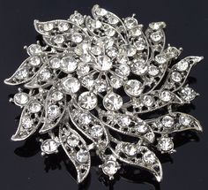 Rhinestone Crystal Brooch, Vintage Style Victorian Brooch, SERENA
