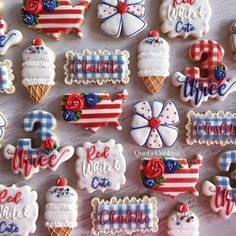 I hope everyone is having a wonderful holiday weekend! I know one little girl who is for sure! No Bake Sugar Cookies, Blue Cookies, Summer Cookies, Fancy Cookies, Royal Icing Cookies, Heart Cookies, 4th Of July Party, Fourth Of July, Birthday Cookies