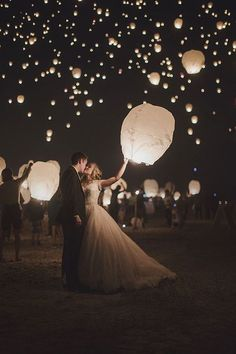 Wedding Sky Lanterns are a growing trend in wedding exits. Take amazing wedding .- Wedding Sky Lanterns are a growing trend in wedding exits. Take amazing wedding pictures during your wish lantern wedding sendoff. Sky Lanterns on sale now! Wedding Send Off, Wedding Exits, Wedding Goals, Wedding Themes, Our Wedding, Wedding Planning, Dream Wedding, Wedding Hair, Magical Wedding