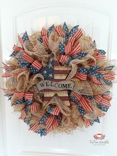 of July Wreath for Front Door Rustic Patriotic Wreath of July Deco Mesh Wreath Red White Blue Wreaths Americana Wreath Patriotic Wreath, Patriotic Crafts, Patriotic Decorations, July Crafts, Wreath Crafts, Diy Wreath, Burlap Wreath, Wreath Ideas, Wreath Making