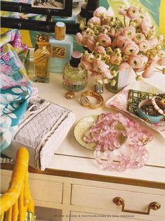 Dressed up dressing table #dressingtable#pink#yellow
