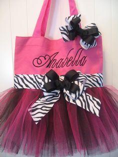 Mini Tutu Tote bag  Dance bag with matching hairbow by gkatdesigns, $19.00