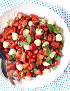 Easy Strawberry Caprese Salad w/ Brown Sugar Balsamic + Mint
