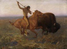 Edwin Willard Deming, Indian Hunting Buffalo (n. Native American Paintings, Native American Artists, American Indians, Native American Hunting, Native Indian, Indian Art, Indian Tribes, Plains Indians, Mountain Man