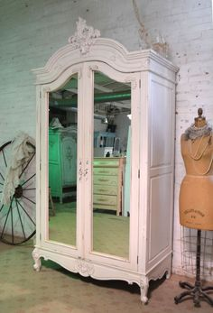 Your place to buy and sell all things handmade Armoire Antique, Painted Armoire, Antique Wardrobe, French Armoire, Armoire Wardrobe, Cottage Chic, Shabby Cottage, Rose Cottage, Shabby Chic