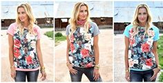 Happy February! We are one month closer to Spring and I couldn't love these french terry floral tops more!! So soft and the perfect cut for only $19.99!