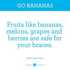 Braces Tip: Softer fruit is always the safe choice. Braces Food, Braces Tips, Kids Braces, Teeth Braces, Braces Problems, Braces Retainer, Sore Tooth, Ceramic Braces, Getting Braces