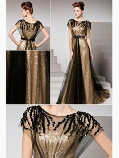 Other views of the same drwss Column Color block Sweep train Sleeveless Beading Sequin Evening gown
