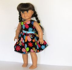 Sleeveless Big Flowers Dress with Belt Made to Fit Dolls Like