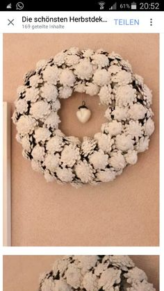 Pinecone wreath but with the bottom of the pinecone showing. Pine Cone Art, Pine Cone Crafts, Wreath Crafts, Diy Wreath, Pine Cones, Burlap Wreath, White Wreath, Wreath Ideas, Noel Christmas