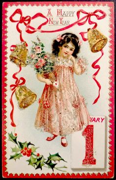 raphael tuck & sons postcards | c1910 Raphael Tuck New Years Postcard - from series 603 -beaded card