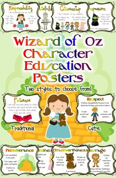 Character Trait Posters: Wizard of Oz Classroom | Character ...