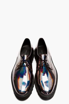 SURFACE TO AIR Gunmetal Iridescent Leather Asteroid Derbys